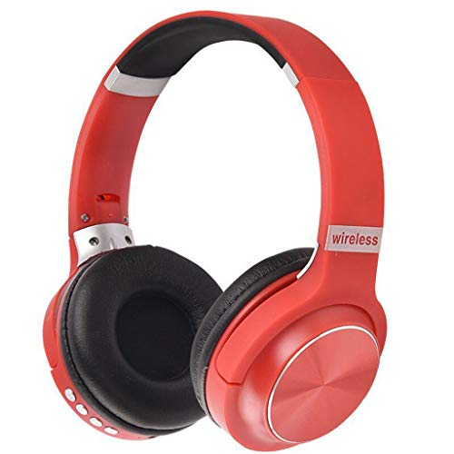 Wireless Headset, Foldable Sports Headphone OverEar Blue-Tooth 4.1,Noise Cancelling Wired Mode Built-in Mic for PC/Cell Phones/TV Headset (Red)