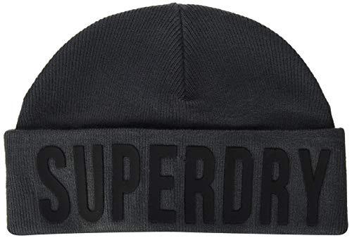 Superdry Surplus Silicone Logo Beanie Conjunto de Accesorios de Invierno, Carbón excedente,...