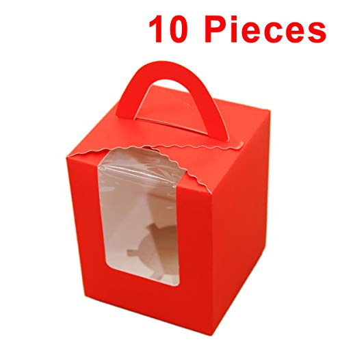 Aosheng Single Cupcake Boxes with Inserts PVC Display Window Muilti-Colors Sturdy Handle Party Favor,EASY ASSEMBLY Set 10 of Pack