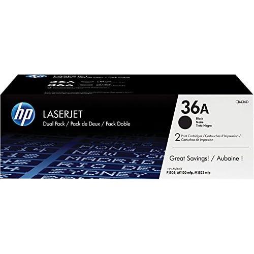HP 36AD CB436AD Confezione da 2 Cartucce Toner Originale per Stampanti, Compatibile con Laserjet P1505, P1505N, M1120, M1522 e M1522nf, Nero