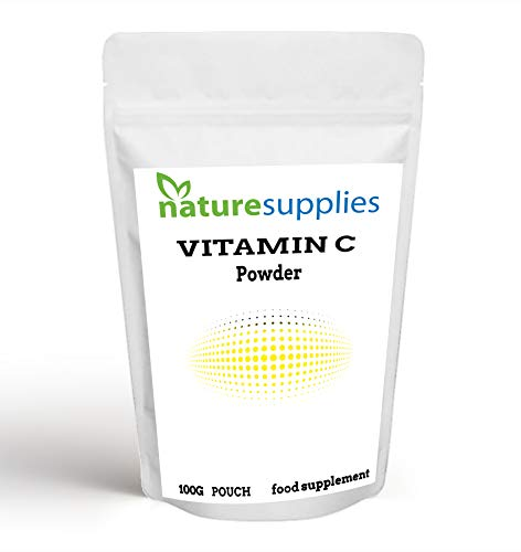 Vitamin C Powder 100g Ascorbic Acid UK Non GMO - Pharmaceutical Grade, Highly Concentrated No Chemicals in Our Supplements - Suitable for Vegans - Naturesupplies