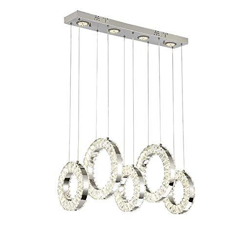 NZDY Lámpara de Araña de Cristal Led Accesorio de Iluminación Colgante Moderno Simple Lámpara de 9 Luces Colgante Lámpara de Techo Ajustable para Comedor Dormitorio,Blanco,Blanco Plateado.