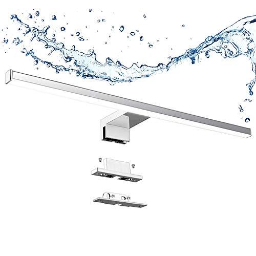 Aogled Lámpara de Espejo Baño 10W 820LM 60cm 230V 4000K,Lámpara de Acero Inoxidable 3 en 1 IP44 Clase II Baño Luz 600mm,Lámpara Aplique Espejo Baño,Sin Parpadeo Neutro BlancoIluminación de Pared