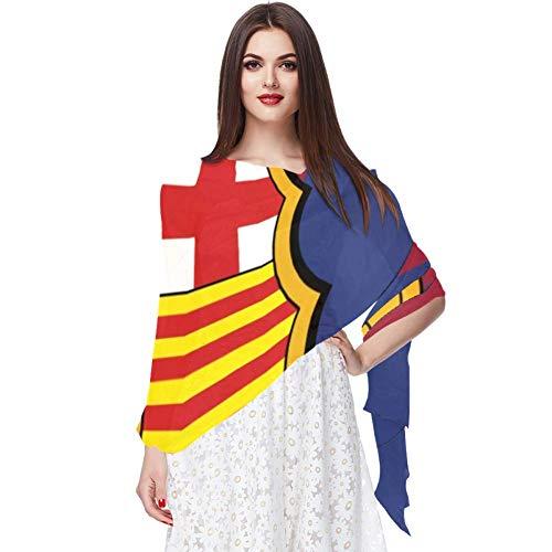 Farbe der Flagge Barcelona Schal Infinity Lightweight Long Sheer Wrap Shawl for Women