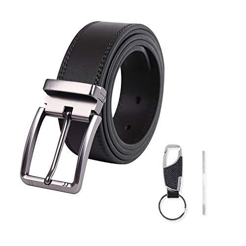 Meiruier Cinturon Hombre Cuero Piel Hebillas Jeans Reversible Trabajo Traje Cinturones Clásico Negro Marron