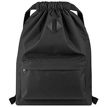Vorspack Drawstring Backpack Water Resistant String Bag Cinch Bag Sports Gym Sack with Side Pocket for Men Women - Black