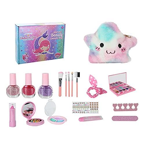 Nrkin Juego de maquillaje infantil para niñas, maletín de maquillaje, juego de maquillaje, juego de rol, juguetes para Halloween, Navidad, regalo a partir de 3, 4 y 5 años