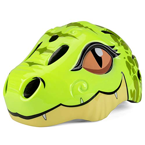 Knowoo Cycle Helmet for Kids 2 Years- 5 Years old Lightweight Cycling Helmet Kids Cartoon Dinosaur Helmets with Rear LED Light Multi-Sport Safety Toys for Kids Protection Gear