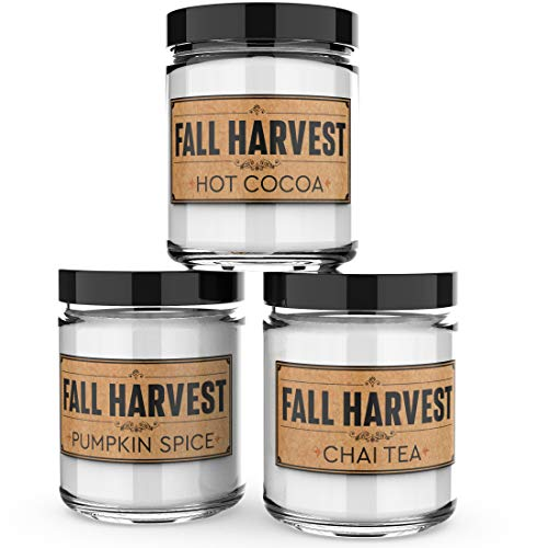 Scented Candles - Fall Harvest - Set of 3: Hot Cocoa, Pumpkin Spice, and Chai Tea - 3 x 4-Ounce Soy Candles - Each Votive Candle is Handmade in The USA with only The Best Fragrance Oils