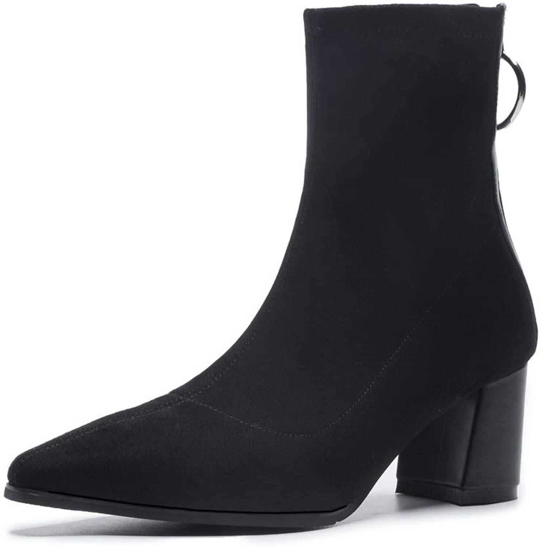 AdeeSu Womens Bucket-Style High-Heel Solid Urethane Boots SXE04400