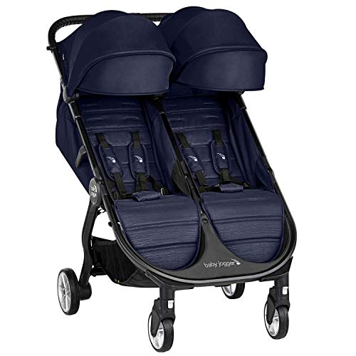 Baby Jogger City Tour 2 Double Travel Pushchair | Lightweight, Foldable & Portable Double Buggy | Seacrest (Navy)