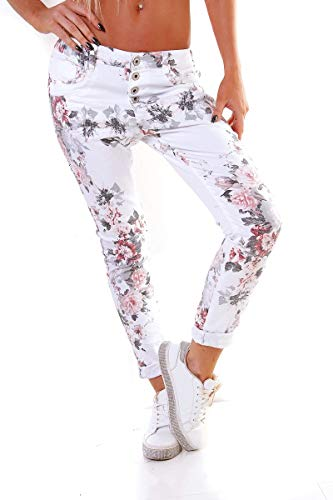 OSAB-Fashion 10255 Damen Hose Skinny Chino Treggings Stretch Pants Baumwolle Blumen Knopfleiste