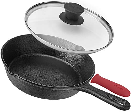 Pre-Seasoned Cast Iron Skillet (8-Inch) with Glass Lid and Handle Cover Oven Safe Cookware - Heat-Resistant Holder - Indoor and Outdoor Use - Grill, Stovetop, Induction Safe