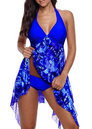 CIZEUR Tankini Damen Bauchweg Große Größen mit Short Badeanzug Blumendruck Push up Beachwear Swim Kleid Elegante 2XL Blau