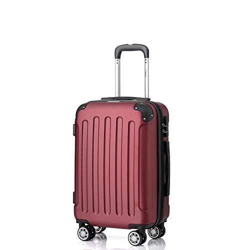 Flexot 2045 Handgepäck Koffer (Bordcase) - Farbe Rubin Rot Größe M Hartschalen-Koffer Trolley Rollkoffer Reisekoffer Handgepäck 4 Rollen