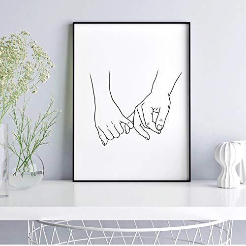 N/A Canvasmålning abstrakt tryck par online ritning målning, svart och vit väggkonst duk, minimalistiska tryckta bilder för livet väggdekoration födelsedagspresent