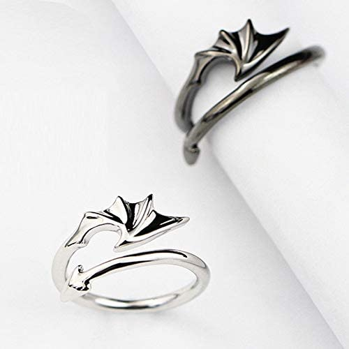 XJW 2pcs Matching Set Couple Rings Stainless Jewelry Angel VS Devil Wings Adjustable Ring Engagement Ring Wedding Ring Promise Rings