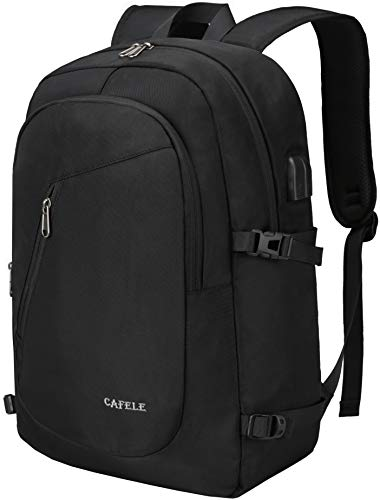 17.3 Inch Laptop Backpack,Cafele Large Travel Laptop Backpack with USB Charging Port, Anti Theft Water Resistant Business Backpack for Men and Women, Durable Lightweight School College Bag, Black