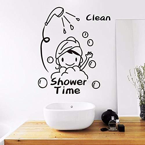 ganlanshu Süßes Mädchen braucht wasserdichte Dusche Wandaufkleber Vinyl Aufkleber für Jungen und Mädchen Badezimmer Dekoration entfernbare Tapete 42cmx63cm