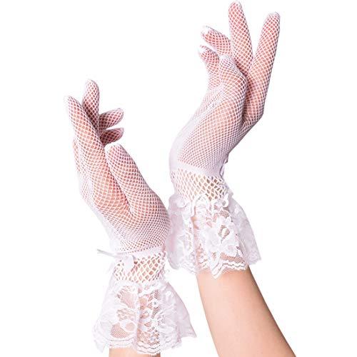 Witery - Guanti da sposa da donna, in pizzo, con dita intere, in seta, per matrimonio, danza sexy, lunghezza al polso bianco Taglia unica
