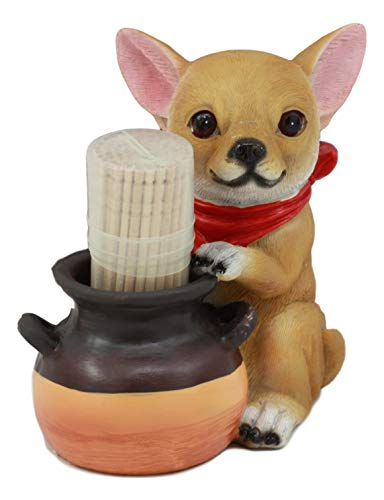 """Ebros Lifelike Chihuahua With Red Scarf And Pot Decorative Toothpick Holder Statue With Toothpicks 4"""" Tall Starter Kit Dog Kitchen Decor Figurine Collectible"""