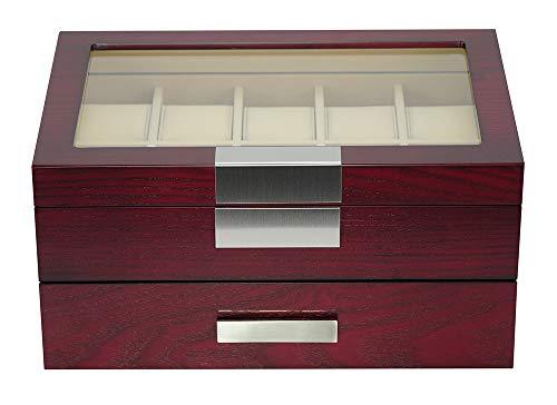 Edle Uhrenbox aus Holz schwarz für 20 Uhren Uhrenschatulle Uhrenvitrine mit Metallblende