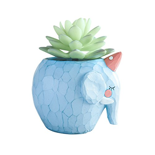 Pot de fleurs mignon en intérieur pour jardinières herbes Décoration de jardin avec petit éléphant bleu en forme d'animal