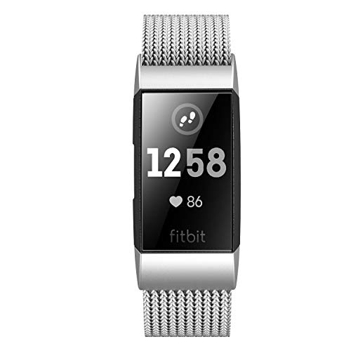 Fitlink Stainless Steel Metal Replacement Bands for Fitbit Charge 3 and Charge 3 SE for Women Men,Multi Color Multi Size(Silver,Small(5.5