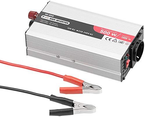 revolt Wechselrichter 12V 230V: Kfz-Spannungswandler mit 500 Watt, 230 Volt, USB, Peakpower 1.000 Watt (Spannungswechsler)
