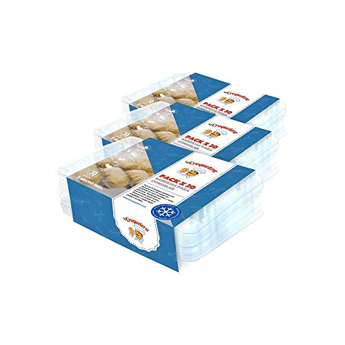 La Croquetera - Pack de 60 bandejas apilables y Reutilizables - para 600 masas (croquetas, albóndigas, Bolas, etc.) - 100% español : Patentado y Fabricado en España
