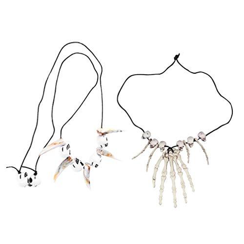 Amosfun 2 piezas de Halloween crneo esqueleto de mano collar de hueso de Halloween joyera disfraz de disfraces para mujeres y hombres (esqueleto de mano + media centro)