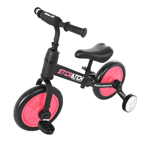 Toddler Balance Bicycle, Kptoaz 4-in-1 Children's Pedal Balance Bike with Training Wheels and Height Adjustable Seat Lightweight Kids Balance Bicycle No-Pedal Pre Walking Bike (one Size, red)