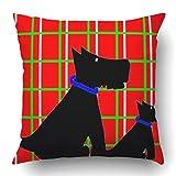 Fundas de cojín Perro Negro Terrier escocés en Cuadros Animal Collar canino Mamífero de Cuatro Patas Mascota Poliéster 18 x 18 Pulgadas Cuadrados