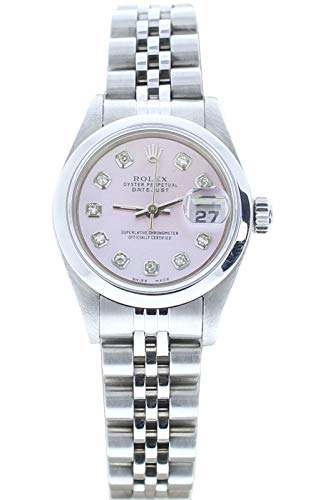 Rolex Ladys Datejust (Automatic) Watch 69160 Jubilee Band Custom Pink Mother of Pearl Diamond Dial & Smooth Bezel (Certified Pre-Owned)