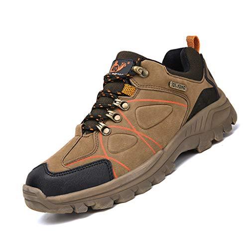WggWy Zapatos de senderismo para primavera, otoño, de gran tamaño, antideslizantes, resistentes al desgaste, informales, cómodos, transpirables, de viaje, color marrón, 40