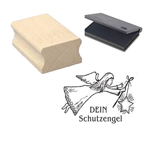 Stempel mit Motiv « DEIN SCHUTZENGEL » ca. 40 x 30 mm - Motivstempel aus Holz mit Kissen - für Scrapbooking Embossing Basteln - Engel Weihnachten Advent Geburtstag