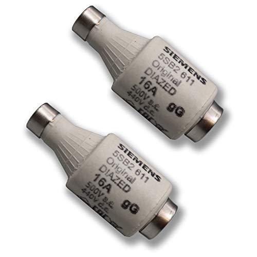 2 Stück Siemens Indus.Sector Diazed-Sicherungseinsatz DIAZED-Sicherungseinsatz 5SB2611 500V AC / 440V DC - gG - Gr. DII E27 16A - VPE = 2 Stück - Nachfolgertyp von 5SB261