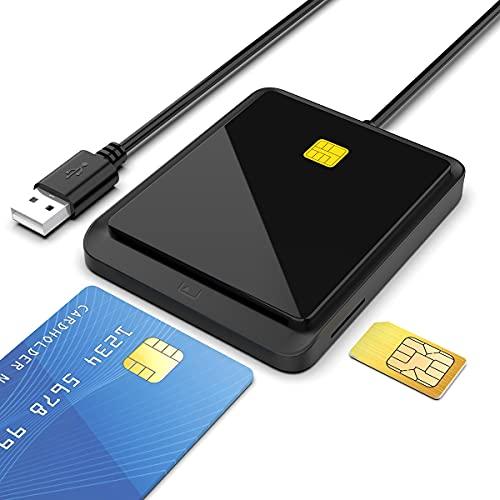 Lettore di Smart Card,Lettore di schede di memoria multifunzione,DOD Militare USB Accesso comune CAC/SIM/ID/IC Bank/Chip Card (e-Tax), ecc,Compatibile con Windows XP/Vista / 7/8/10, Mac OS