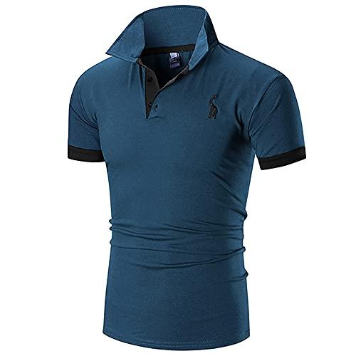 Shirt Ocio Hombre Básica Transpirable con Botones Hombre Polo Ajustado Bordado Manga Corta Hombre Shirt Muscular Verano Cuello Kent Business Golf Sport Hombre Shirt E-Blue XL
