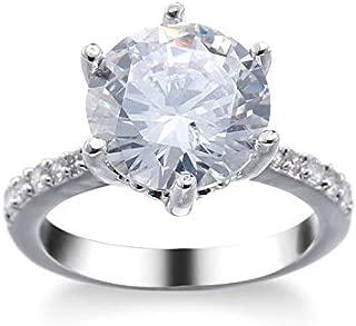 preeyanan Women Fashion Handmade 5ct Unique AAA Cz 925 Silver Wedding Finger Ring Size6-10 (8)