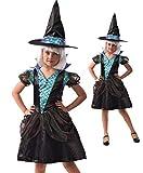 Magicoo - Costume da strega per bambine con motivo a sirena, con vestito e cappello, taglia da 110 a 140