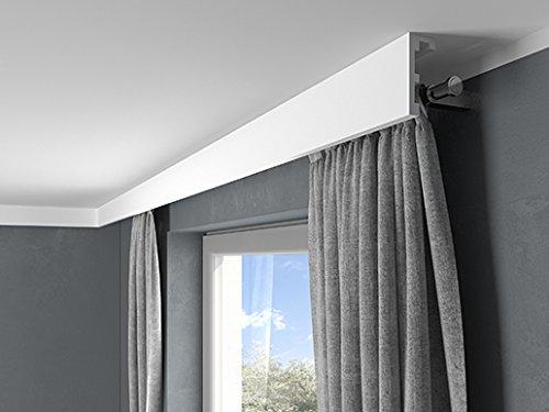 MARDOM DECOR Gardinenblende QL026 I Gardinen und Stoff Blende für die indirekte LED Beleuchtung I 2,40 m x 9,8 cm x 4,1 cm