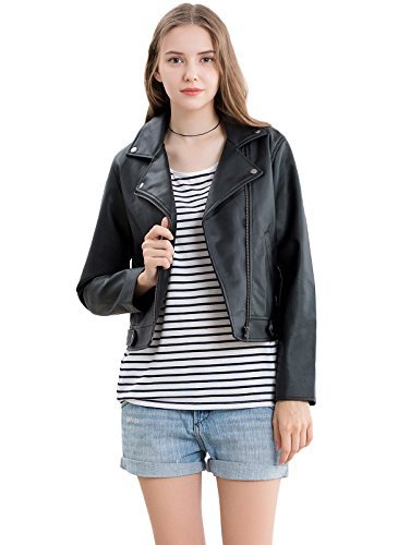 Vero Viva Women's Faux Leather Moto Biker Short Jacket Coat Black S