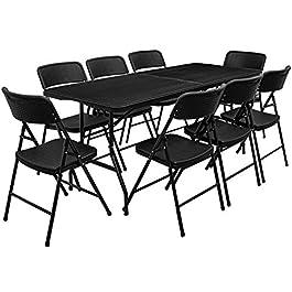 AMANKA Ensemble de Meubles de Jardin – Table de 180 cm avec 8 chaises – Pliable Aspect Rotin Noir