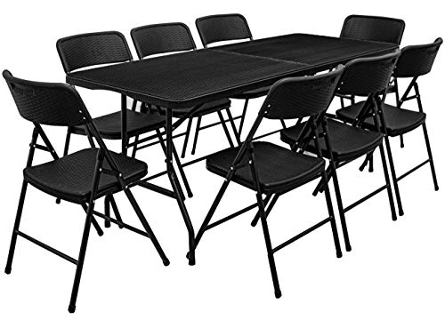 AMANKA Juego de Muebles de Jardin - Mesa 180 cm con 8 Sillas Grupo de Asientos Plegables Look Ratan