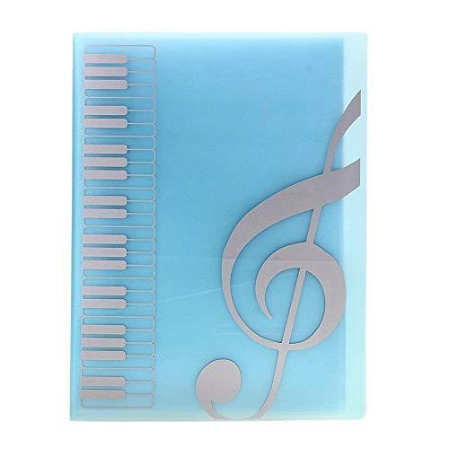 FJR Notenmappe, Notenhalter mit Notenschlüssel-Motiv, weicher Einband, DIN A4, 40 Fächer A4 blau