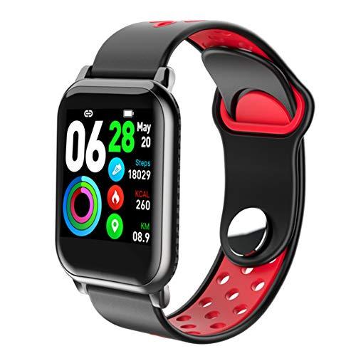 Pedómetro de fitness Presión impermeable Reloj inteligente, Actividad Health Color Pantalla Toque Pantalla de sangre con cámara de sueño Monitor de ritmo cardíaco para banda deportiva,Black red
