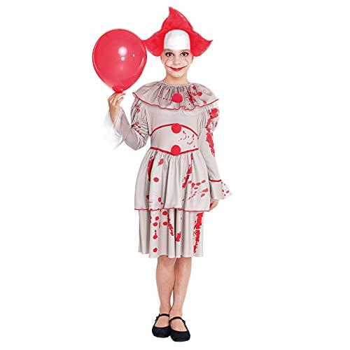 Disfraz Payasa Asesina Niña Retro [Talla 7-9 años]【Talla Infantil de 3 a 12 años】 Disfraces Halloween para niña