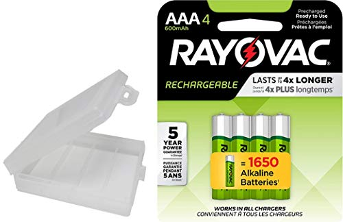 Rayovac Rechargeable 600mAh NiMH AAA Batteries 4 Pack with Holder