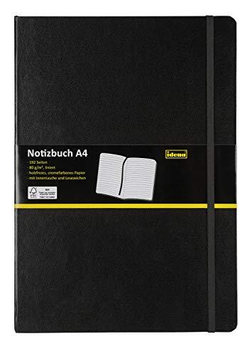 Idena 209292 Notizbuch FSC-Mix, A4, liniert, Papier cremefarben, 96 Blatt, 80 g/m², Hardcover in schwarz, 1 Stück